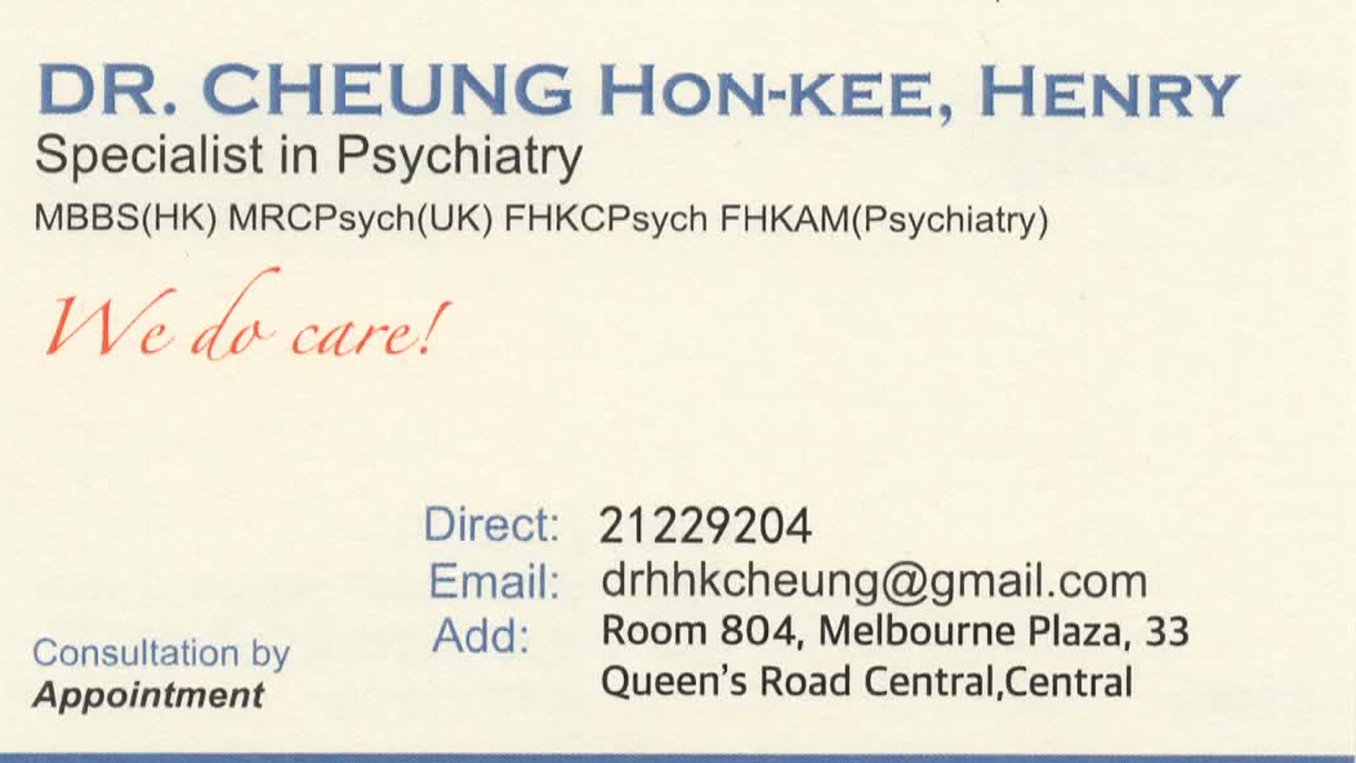Dr Cheung Hon Kee, Henry Name Card