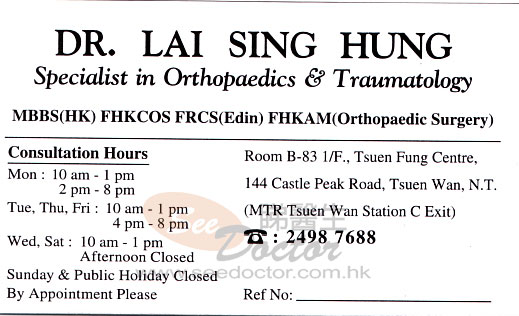 Dr LAI SING HUNG Name Card